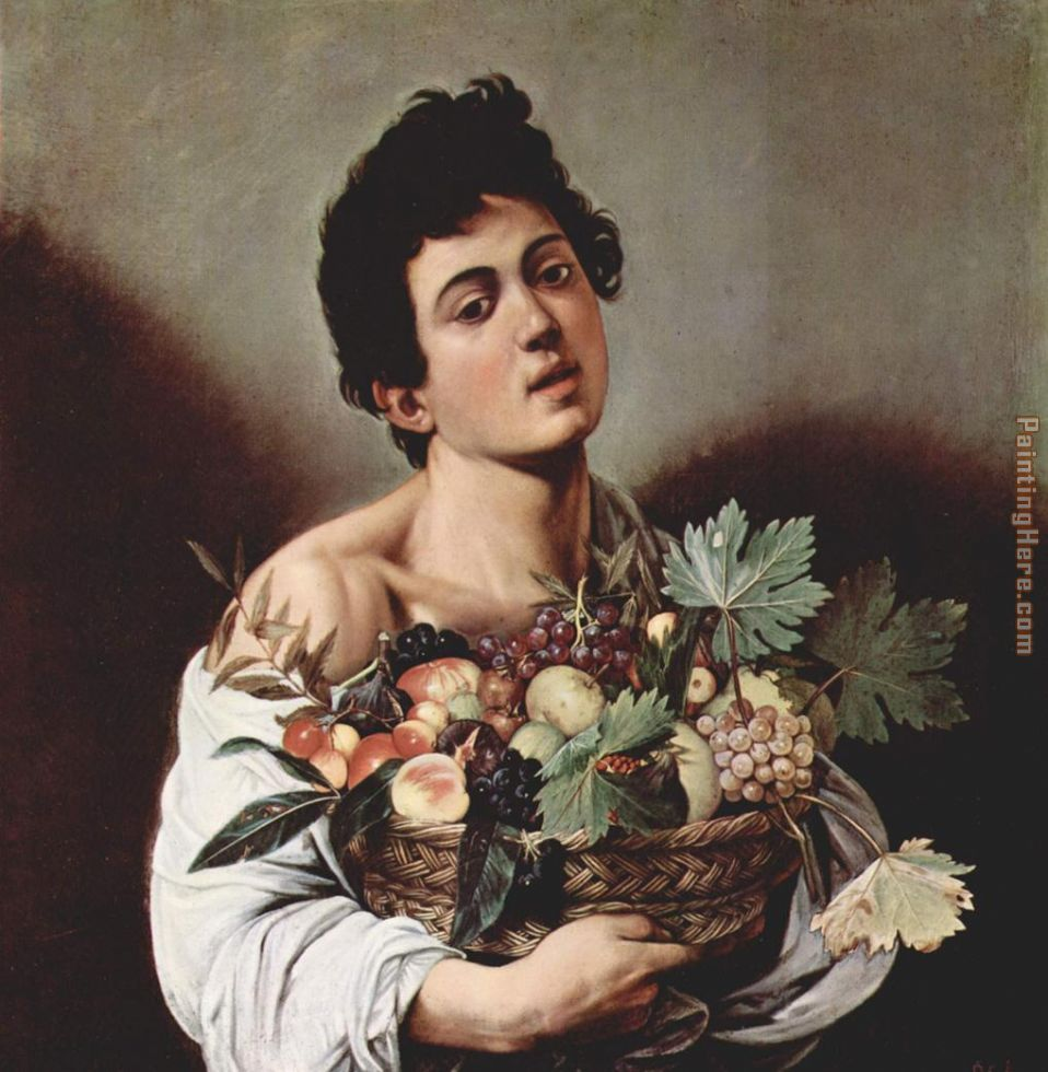 Caravaggio Boy with a Basket of Fruit Art Painting