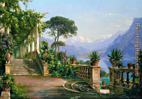 lodge on lake como 2 painting - Carl Fredrik Aagard lodge on lake como 2 art painting