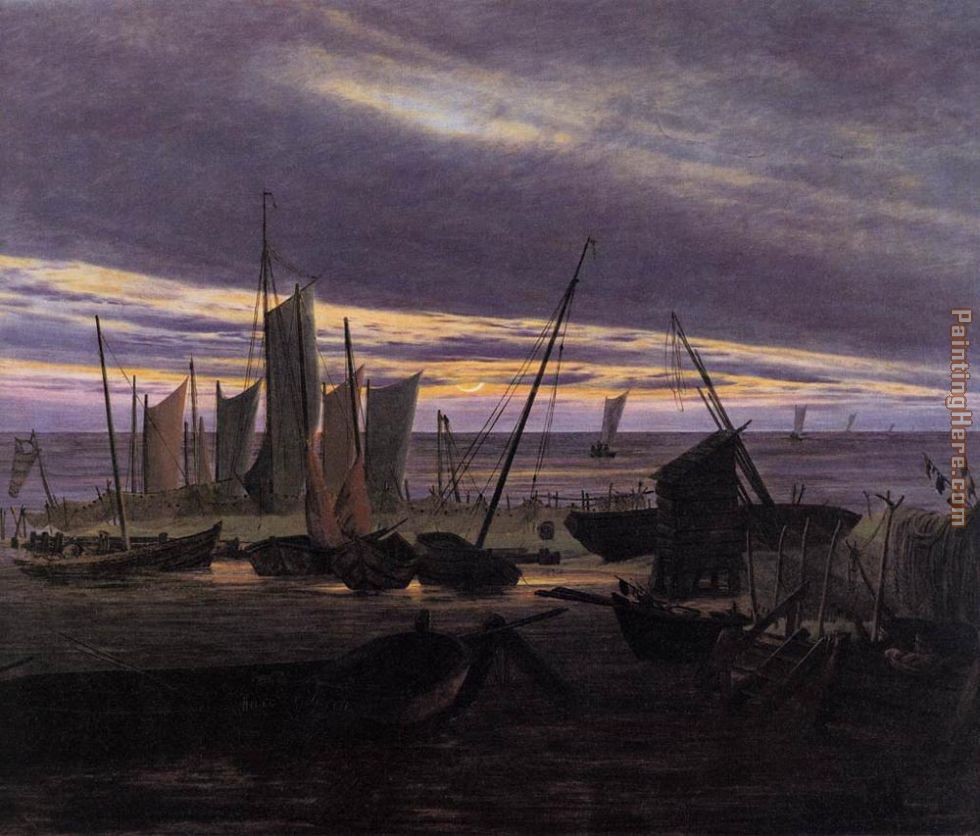 Boats in the Harbour at Evening painting - Caspar David Friedrich Boats in the Harbour at Evening art painting