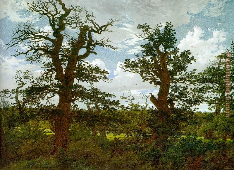 Landscape with Oak Trees and a Hunter painting - Caspar David Friedrich Landscape with Oak Trees and a Hunter art painting
