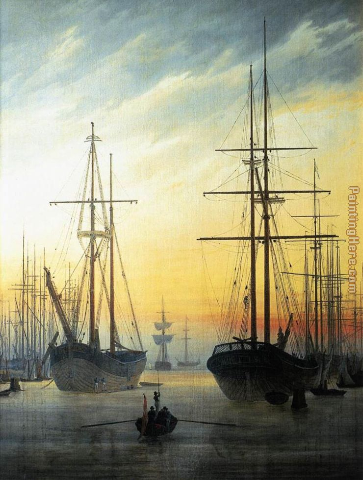 View of a Harbour painting - Caspar David Friedrich View of a Harbour art painting