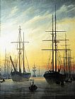 View of a Harbour by Caspar David Friedrich