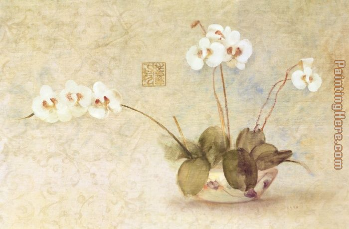 Orchids in a Chinese Bowl painting - Cheri Blum Orchids in a Chinese Bowl art painting