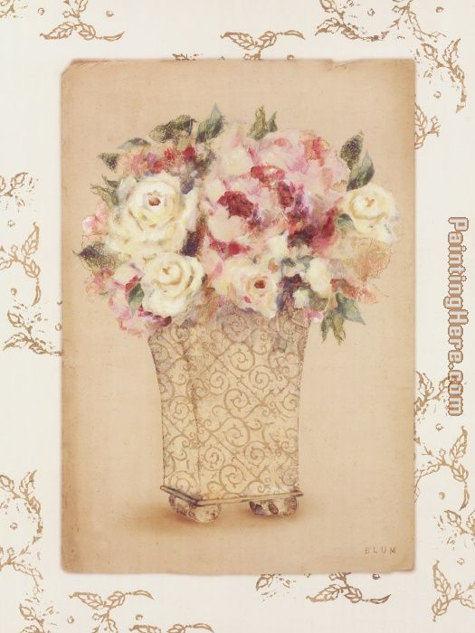 Cheri Blum Roses In A Painted Vase Ii Painting Anysize 50 Off