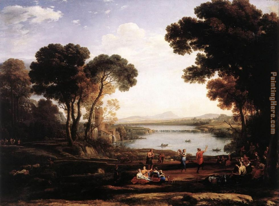Claude Lorrain Landscape with Dancing Figures The Mill Art Painting