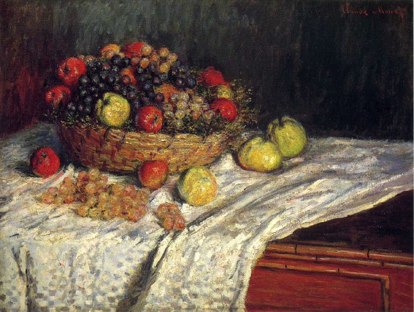 Fruit Basket with Apples and Grapes painting - Claude Monet Fruit Basket with Apples and Grapes art painting
