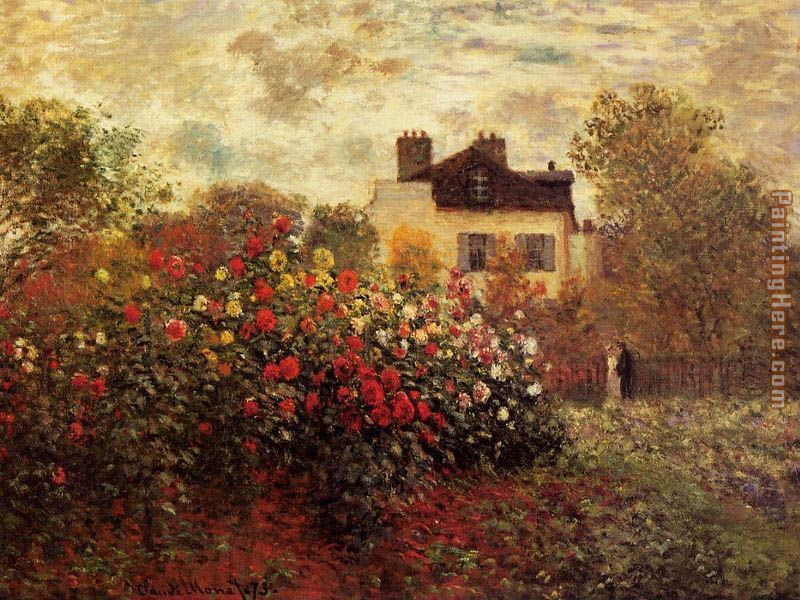 Claude Monet Garden At Argenteuil Aka The Dahlias Art Painting