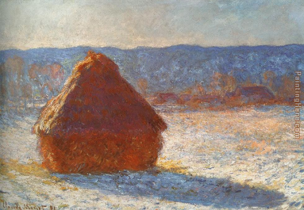 Haystack snow effect painting - Claude Monet Haystack snow effect art painting