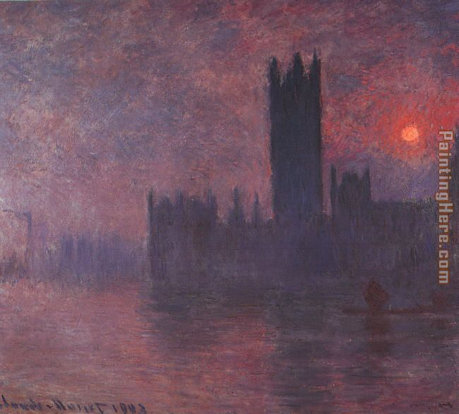 Claude Monet London Houses of Parliament at Sunset Art Painting