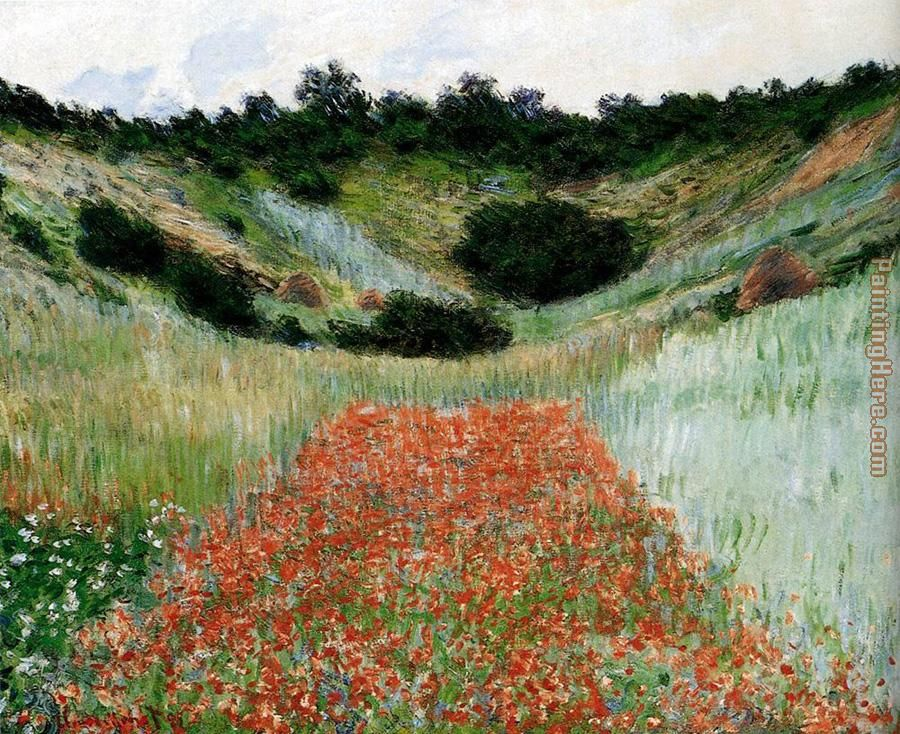 Poppy Field In A Hollow Near Giverny painting - Claude Monet Poppy Field In A Hollow Near Giverny art painting