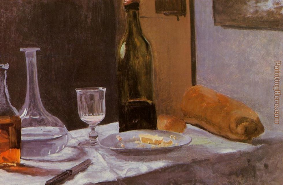 Still Life with Bottles Carafe Bread and Wine painting - Claude Monet Still Life with Bottles Carafe Bread and Wine art painting