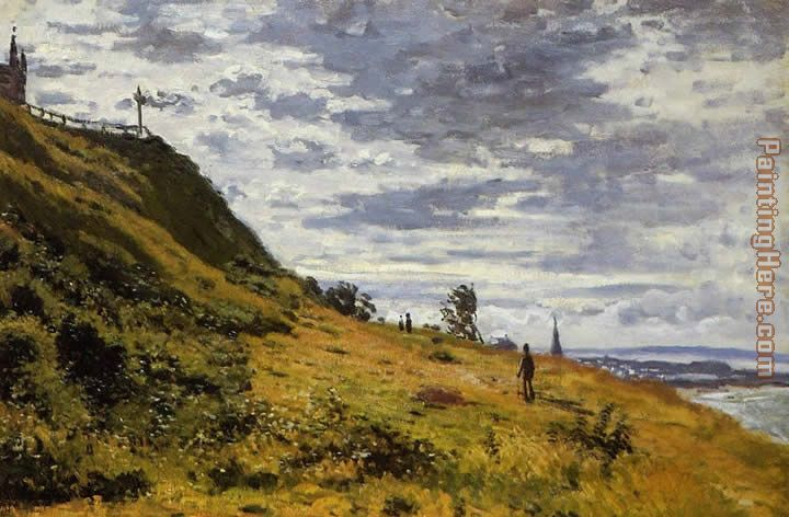 Taking a Walk on the Cliffs of Sainte-Adresse painting - Claude Monet Taking a Walk on the Cliffs of Sainte-Adresse art painting