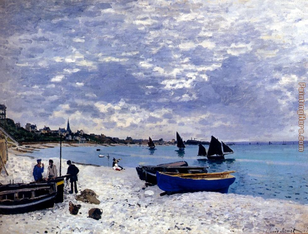 The Beach At Sainte-Adresse painting - Claude Monet The Beach At Sainte-Adresse art painting