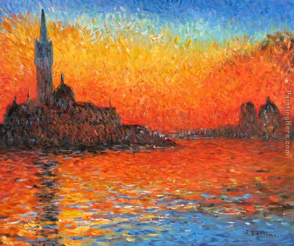 Venice Twilight painting - Claude Monet Venice Twilight art painting