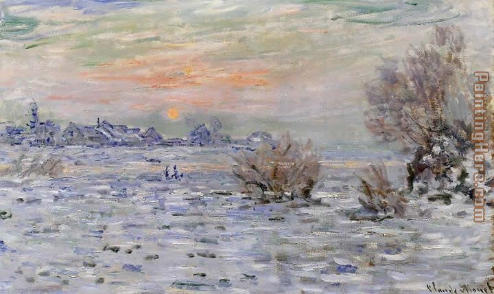 Winter on the Seine Lavacourt painting - Claude Monet Winter on the Seine Lavacourt art painting