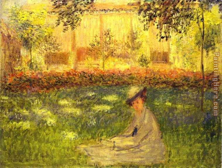 Woman Sitting in a Garden painting - Claude Monet Woman Sitting in a Garden art painting