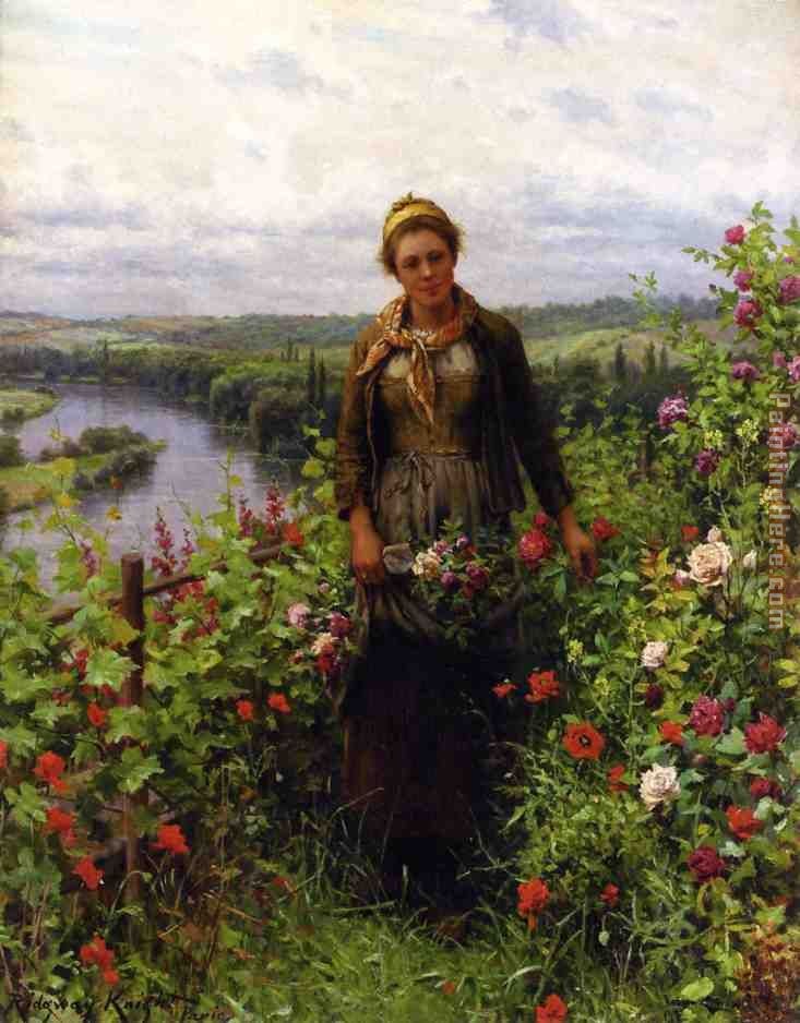 Daniel Ridgway Knight A Maid in Her Garden Art Painting