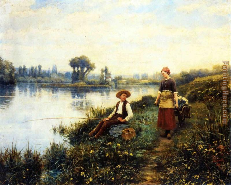 A Passing Conversation painting - Daniel Ridgway Knight A Passing Conversation art painting