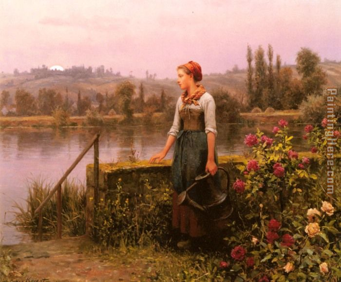 Daniel Ridgway Knight A Woman with a Watering Can by the River Art Painting