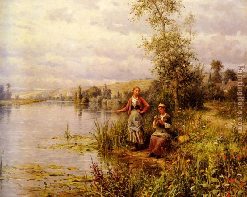 Country Women Fishing on a Summer Afternoon painting - Daniel Ridgway Knight Country Women Fishing on a Summer Afternoon art painting