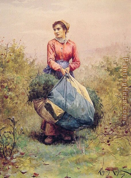 Daniel Ridgway Knight Gathering Leaves Art Painting