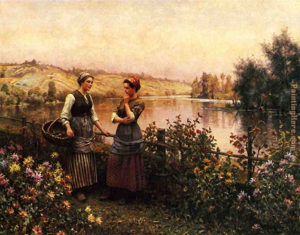 Stopping for Conversation painting - Daniel Ridgway Knight Stopping for Conversation art painting
