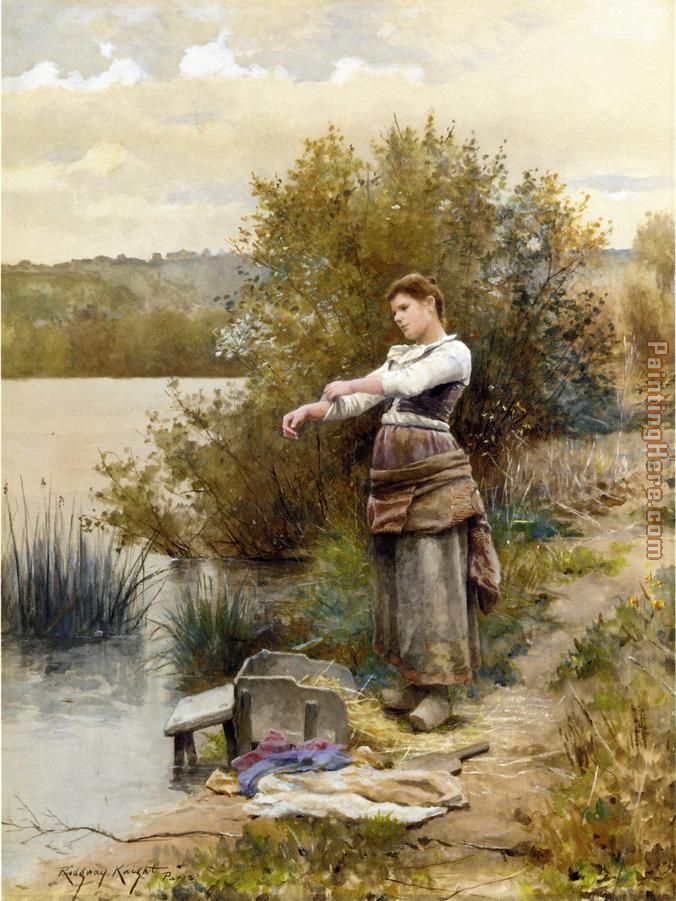 Daniel Ridgway Knight The Laundress Art Painting