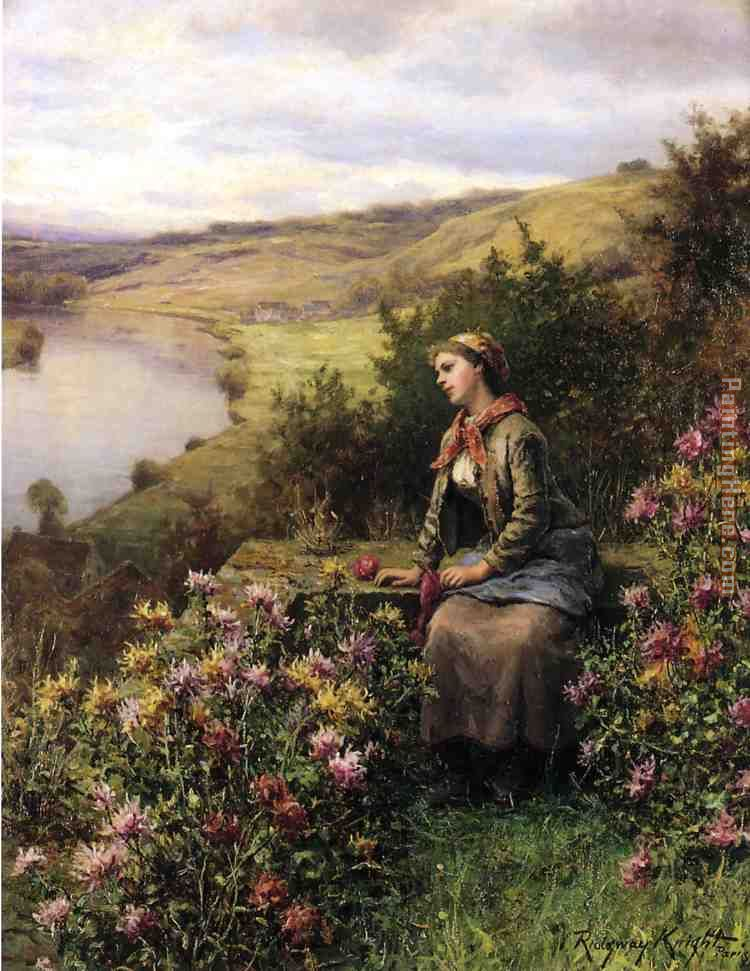 Waiting painting - Daniel Ridgway Knight Waiting art painting