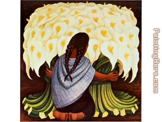 The Flower Seller painting - Diego Rivera The Flower Seller art painting