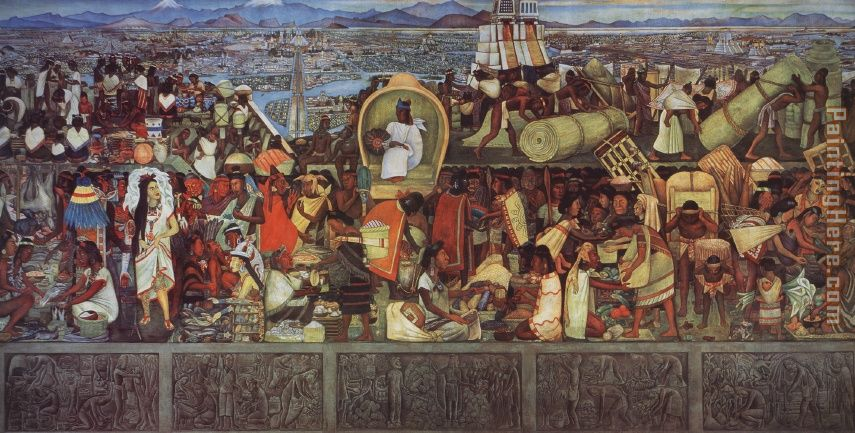The Great City of Tenochtitlan painting - Diego Rivera The Great City of Tenochtitlan art painting