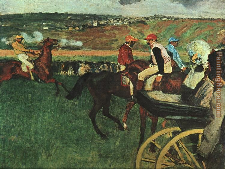 At the Races painting - Edgar Degas At the Races art painting