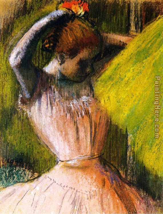 Ballet Corps Member Fixing Her Hair painting - Edgar Degas Ballet Corps Member Fixing Her Hair art painting