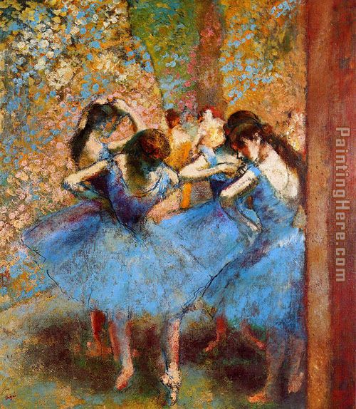 Dancers in Blue painting - Edgar Degas Dancers in Blue art painting
