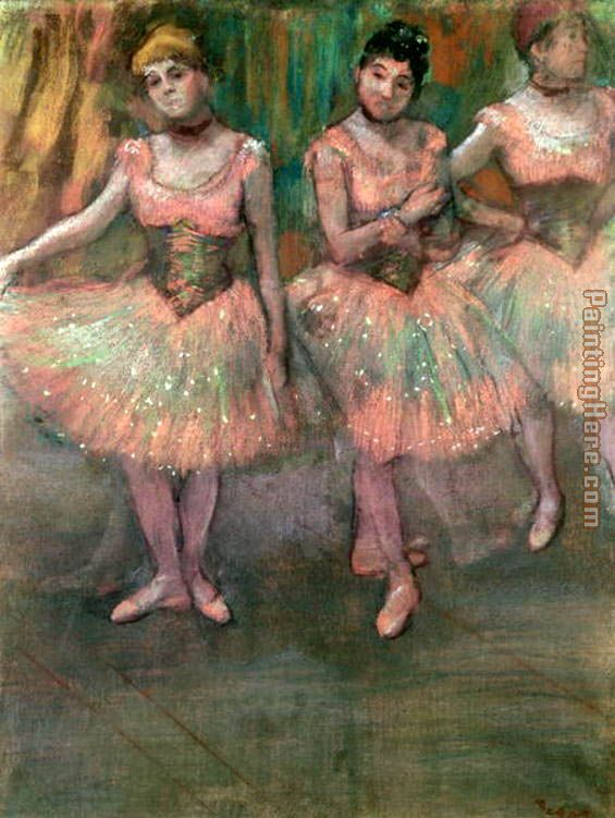 Dancers wearing salmon coloured skirts painting - Edgar Degas Dancers wearing salmon coloured skirts art painting