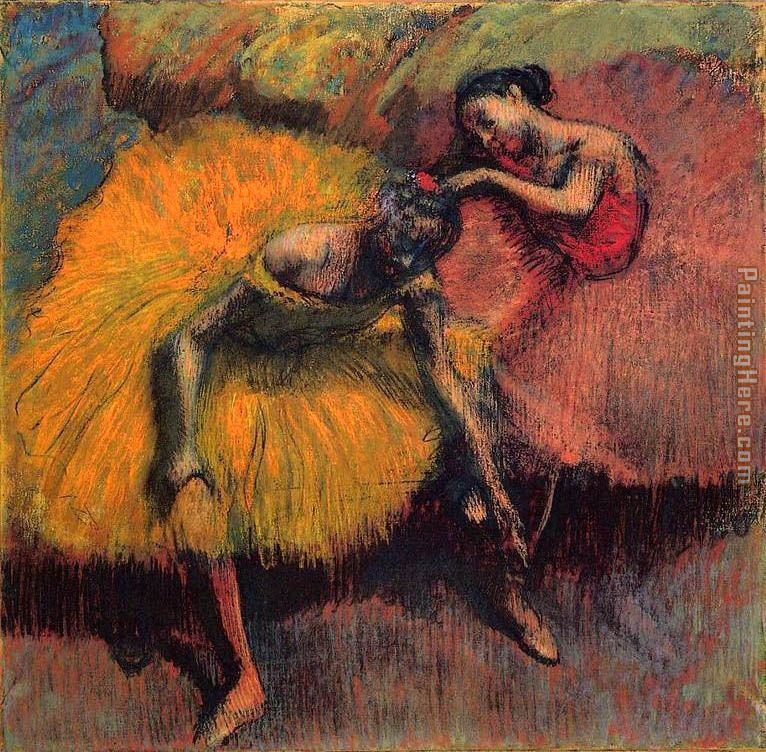 Two Dancers in Yellow and Pink painting - Edgar Degas Two Dancers in Yellow and Pink art painting