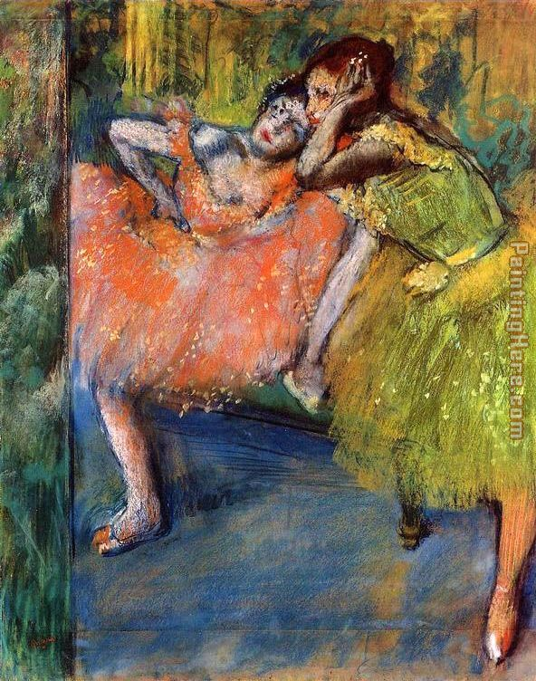 Two Dancers in the Foyer painting - Edgar Degas Two Dancers in the Foyer art painting