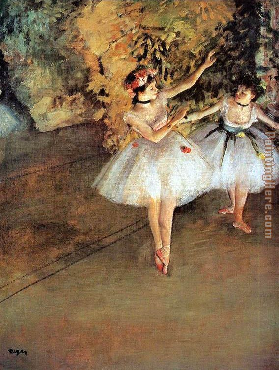 Two Dancers on a Stage painting - Edgar Degas Two Dancers on a Stage art painting