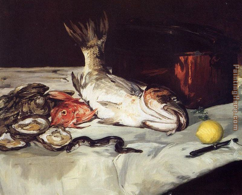 Still Life with Fish painting - Edouard Manet Still Life with Fish art painting