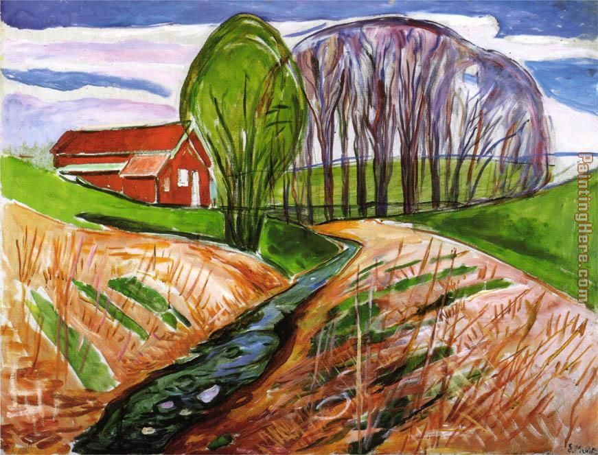 Edvard Munch Spring landscape at the red house 1935 Art Painting