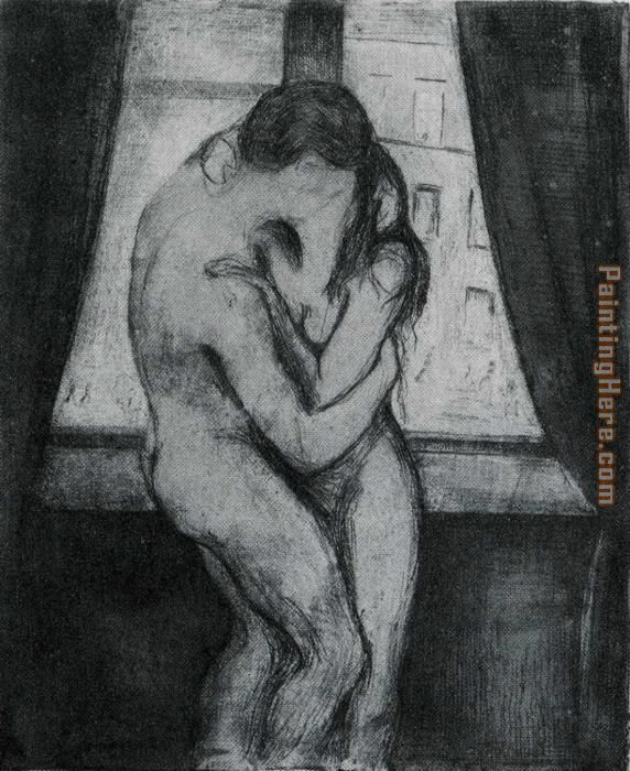 The Kiss 1895 painting - Edvard Munch The Kiss 1895 art painting