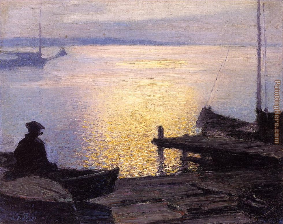 Edward Henry Potthast Along the Mystic River Art Painting