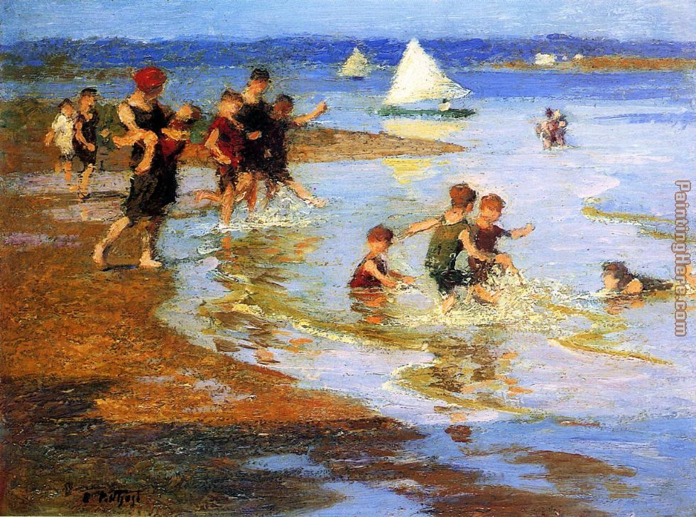 Children at Play on the Beach painting - Edward Henry Potthast Children at Play on the Beach art painting