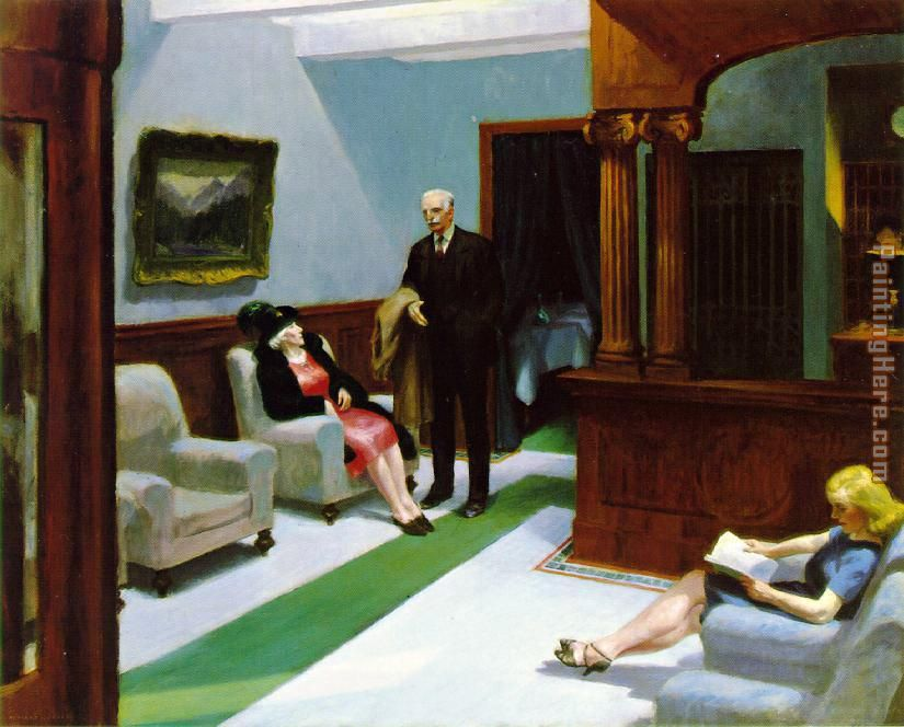 Hotel Lobby painting - Edward Hopper Hotel Lobby art painting