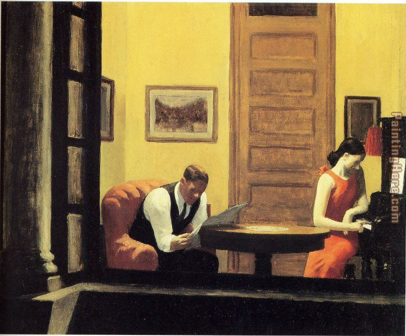 Room in New York painting - Edward Hopper Room in New York art painting