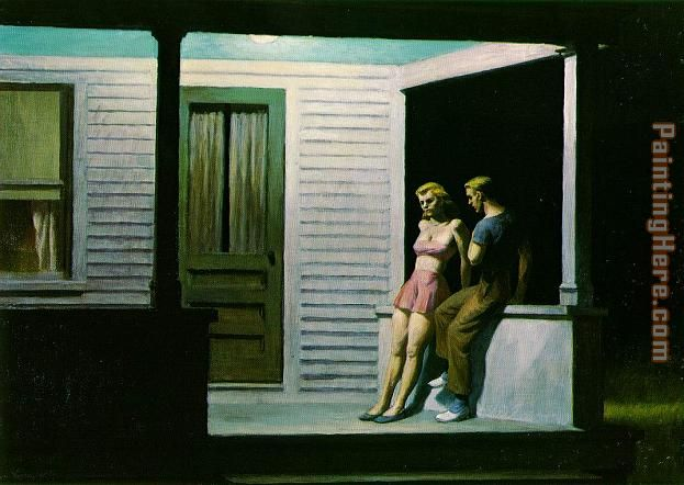Summer Evening painting - Edward Hopper Summer Evening art painting