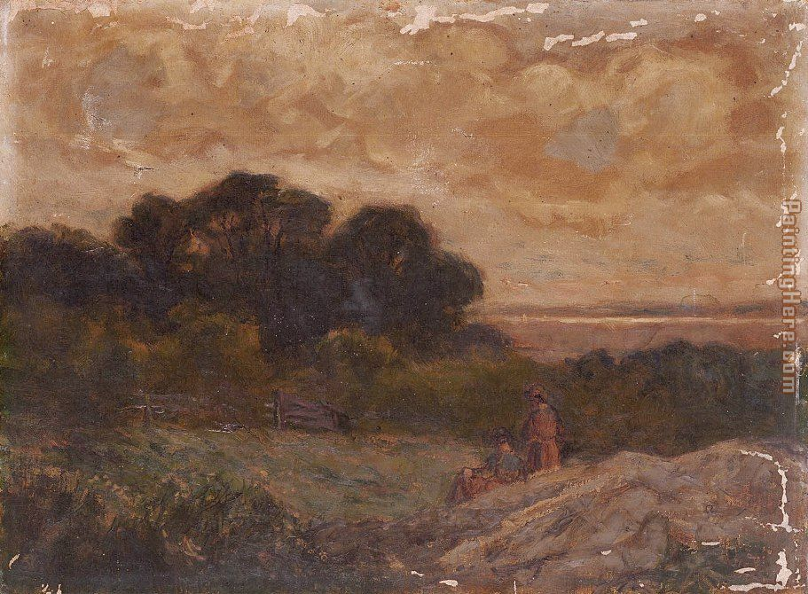 Edward Mitchell Bannister Landscape with Two Women Reclining on Rocks Art Painting