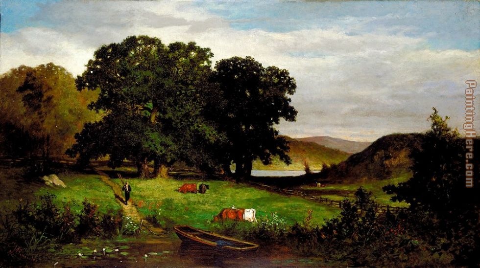 Edward Mitchell Bannister Oak Trees Art Painting