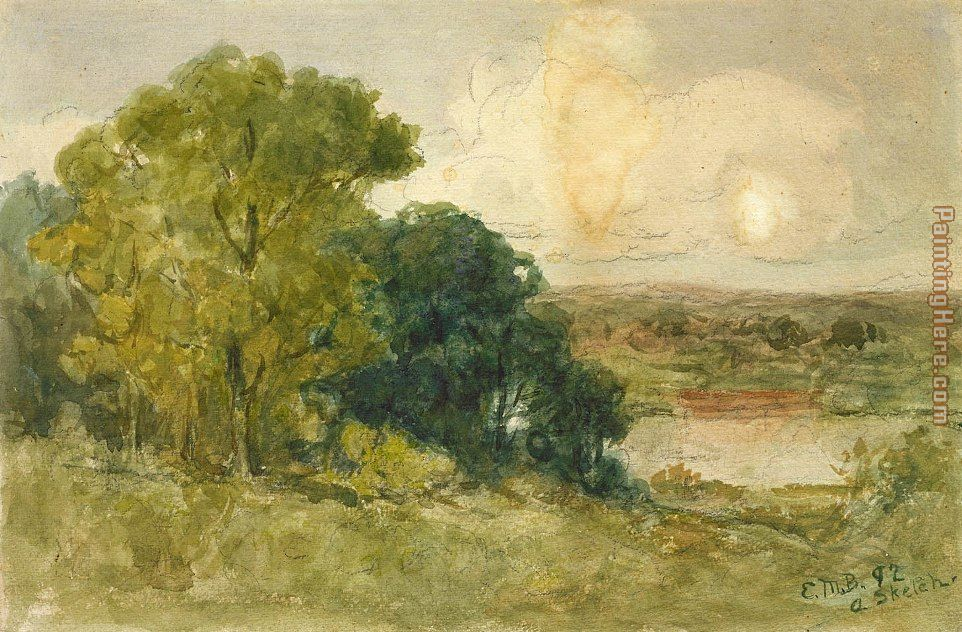 On the Seekonk painting - Edward Mitchell Bannister On the Seekonk art painting