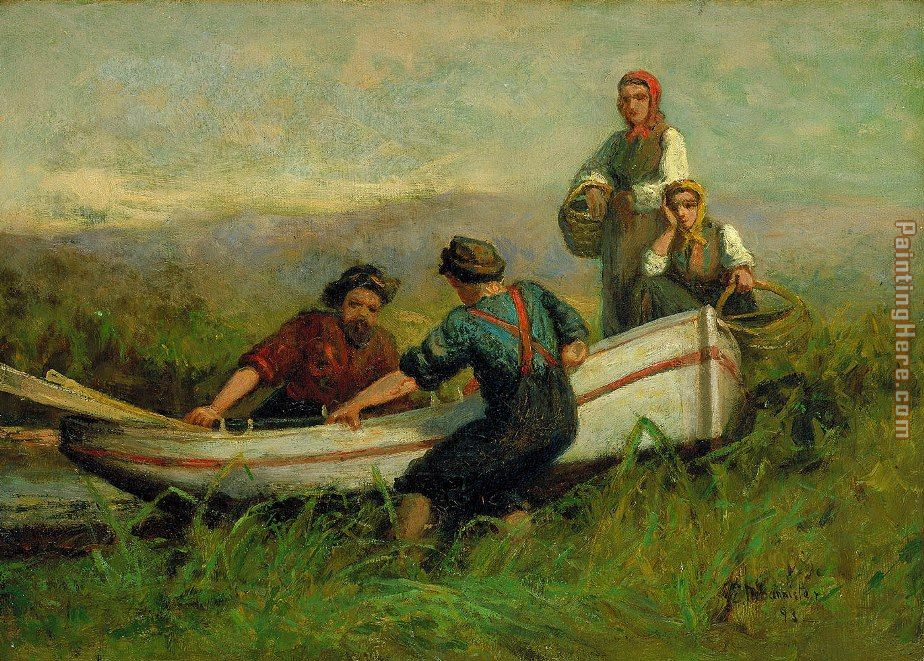 People Near Boat painting - Edward Mitchell Bannister People Near Boat art painting