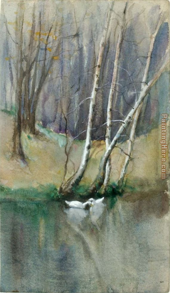 Wood Scene with Birch Trees and Ducks painting - Edward Mitchell Bannister Wood Scene with Birch Trees and Ducks art painting